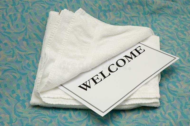 towel welcome стоковые фотографии rf