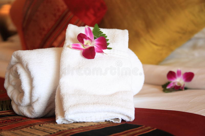 Download Towels stock image. Image of bali, hotelroom, pink, cushion - 15567761
