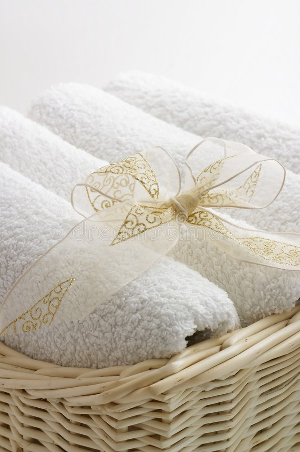 Towels in the basket royalty free stock photos