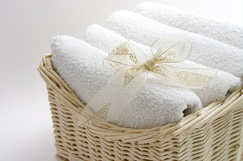 Towels in the basket royalty free stock photo