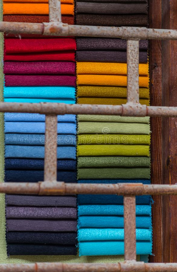 Towels behind iron bars royalty free stock photo