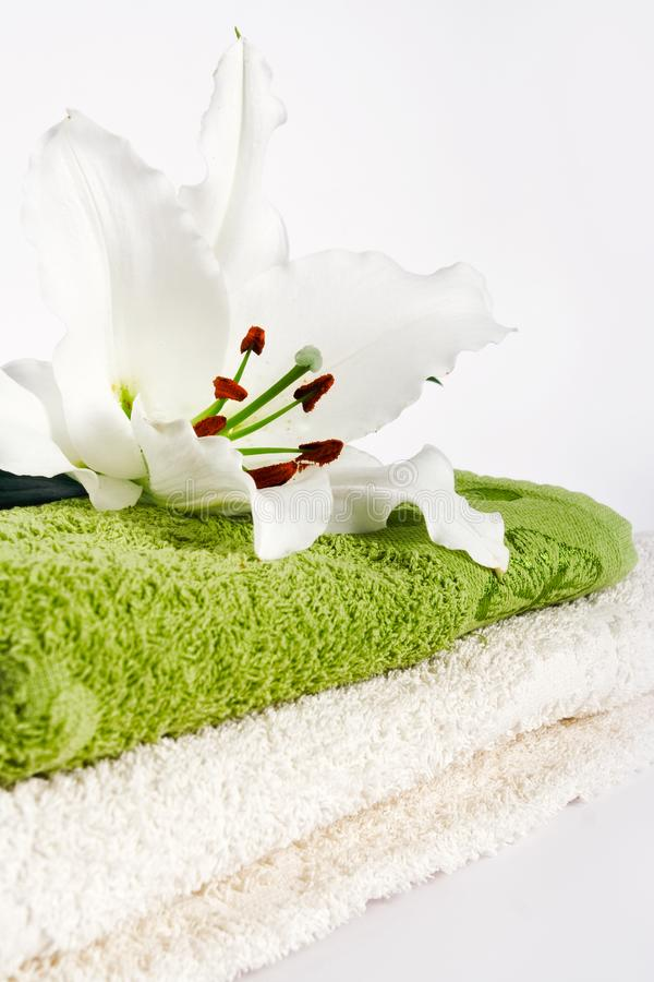 Download Towels and lily flower stock image. Image of relaxing - 14573131