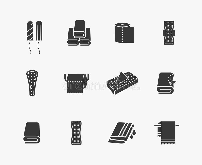 Towels, napkins and feminine hygiene products. Vector icons. Menstrual sanitary, woman vaginal tampon, vector illustration vector illustration