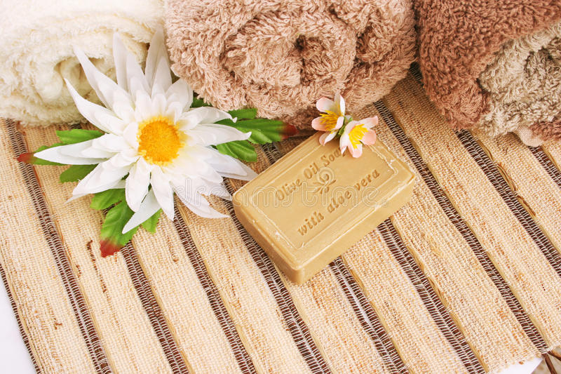 Towels and soap stock photography