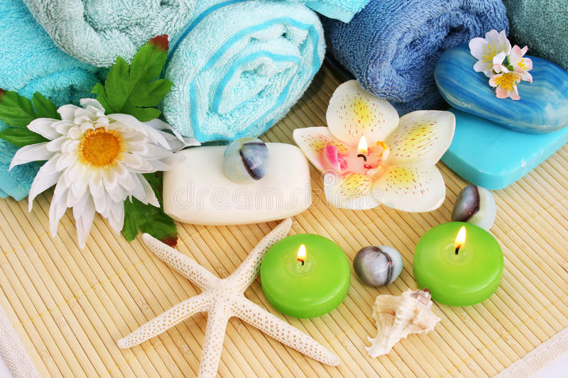 Download Towels, Soaps, Flowers, Candles Royalty Free Stock Photos - Image: 25571528