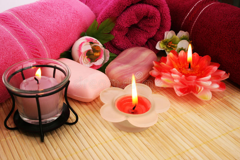 Download Towels, Soaps, Flowers, Candles Stock Image - Image: 25599401