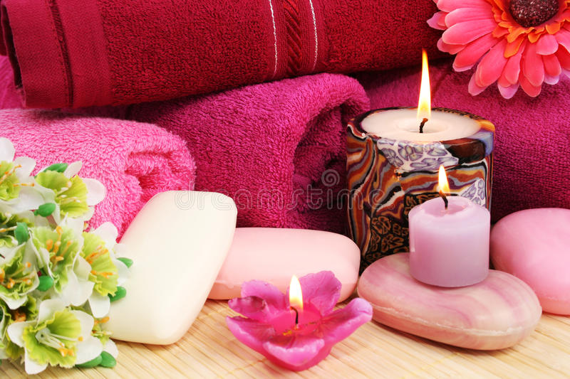 Download Towels, Soaps, Flowers, Candles Stock Photo - Image of bathe, bathroom: 27794478