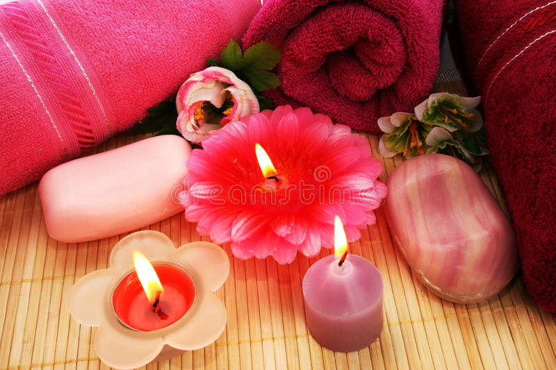 Download Towels, Soaps, Flowers, Candles Stock Photo - Image of fire, cloth: 31949322