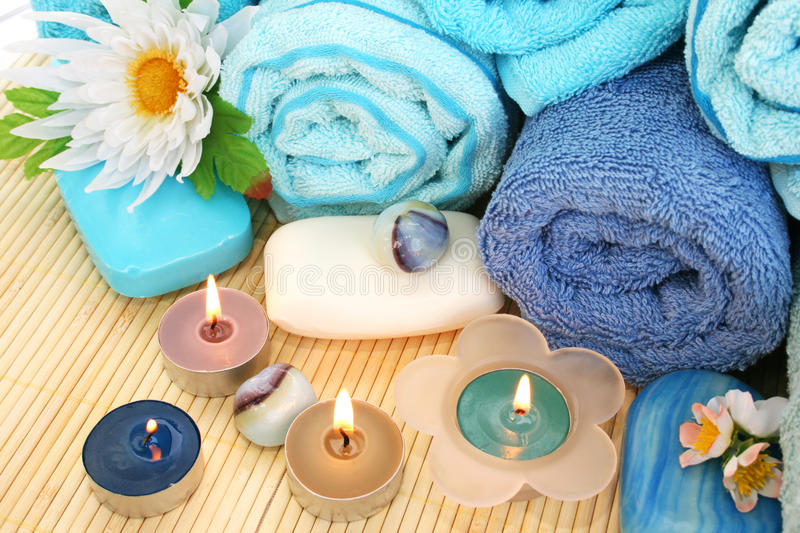 Download Towels, Soaps, Flowers, Candles Stock Photo - Image: 31910000