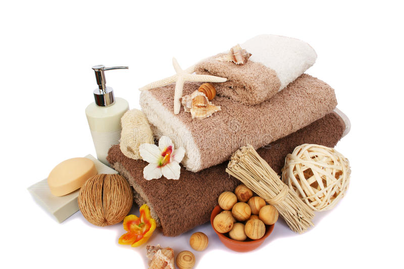 Towels and spa set royalty free stock image