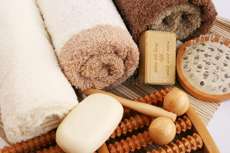 Download Towels and spa set stock photo. Image of massage, beige - 31949198