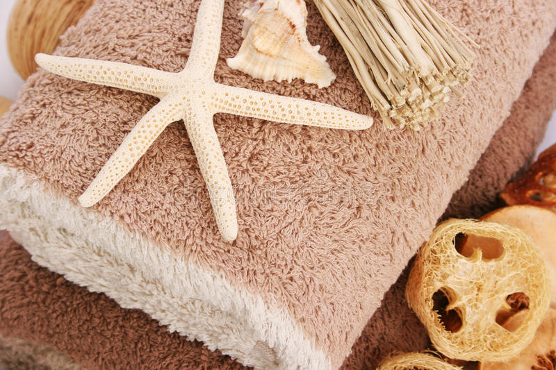 Towels and starfish stock image
