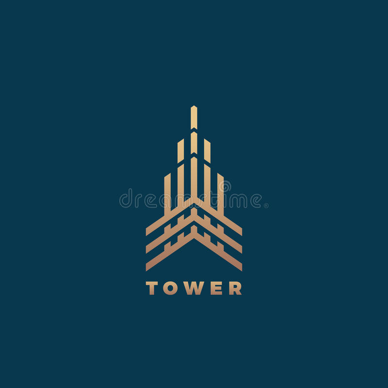 Tower Abstract Geometry Minimal Vector Sign, Symbol or Logo Template. Premium Line Style Building Concept. Real Estate royalty free illustration