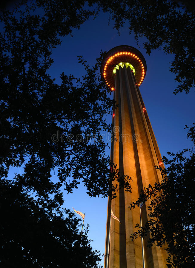 Tower of Americas at night. The Tower of Americas photographed at a lower angle early evening in San Antonio Texas royalty free stock photos