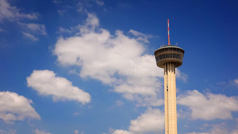 Tower of The Americas in San Antonio, Texas. Against blue sky and clouds stock photography