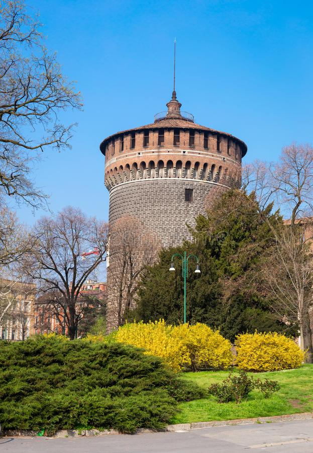Milan fortress tower royalty free stock photo