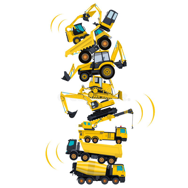 Tower assembled from building machines. Collected ground works. Construction machinery. Tower assembled from building machines - truck, digger, crane, bagger stock illustration