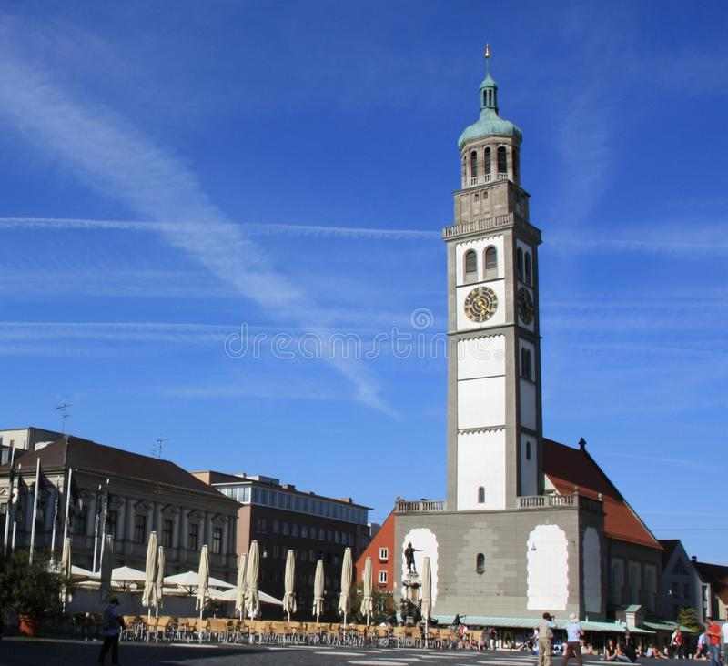 Tower in Augsburg. This Tower is placed near the Town Hall of Augsburg (German: Augsburger Rathaus) The administrative centre of Augsburg, Bavaria, Germany, is a stock photos