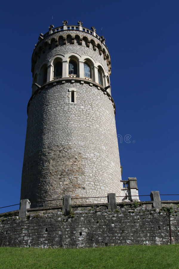 The Tower of Avalon. Is a french historic monuments since 1992. The tower is built on the ruins of the former medieval chateau of Avalon royalty free stock photo