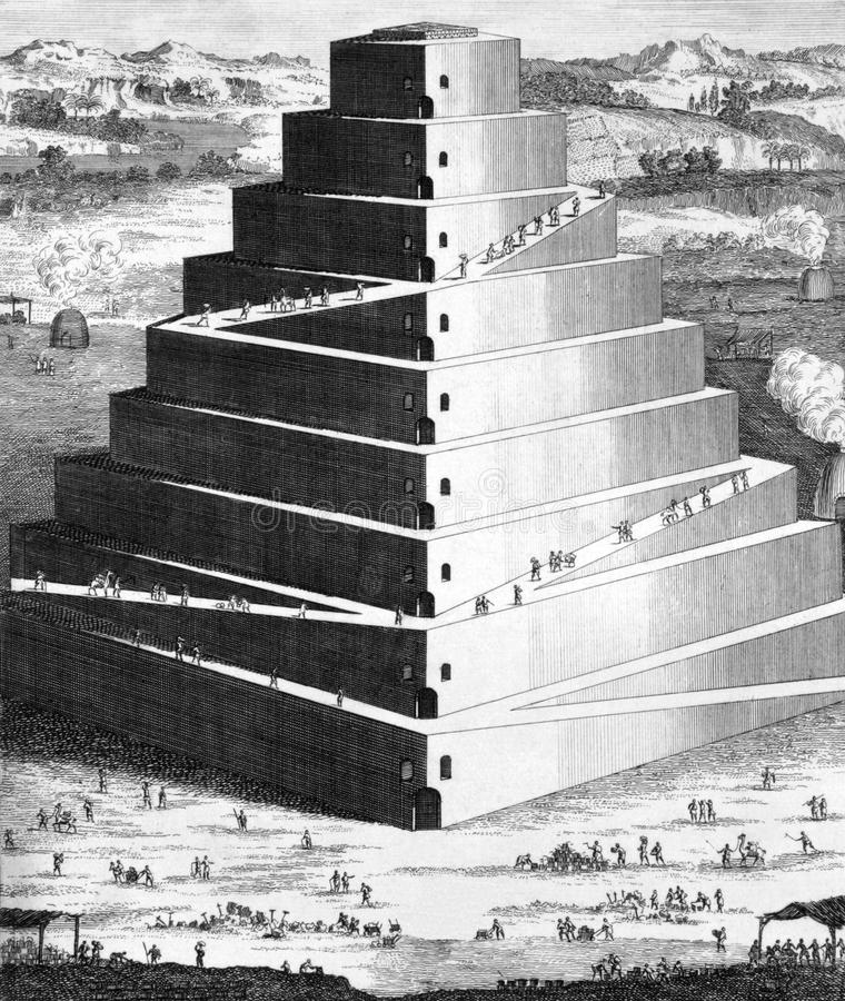 The Tower of Babel. On engraving from 1733. Engraved by Isaac Basire royalty free stock images