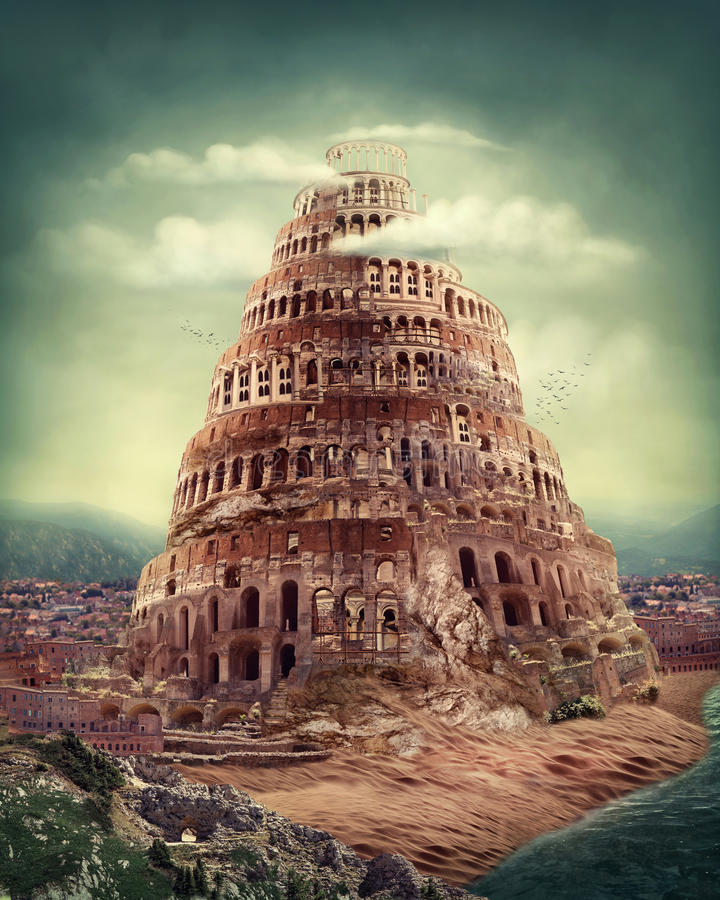 Tower of Babel. As religion concept