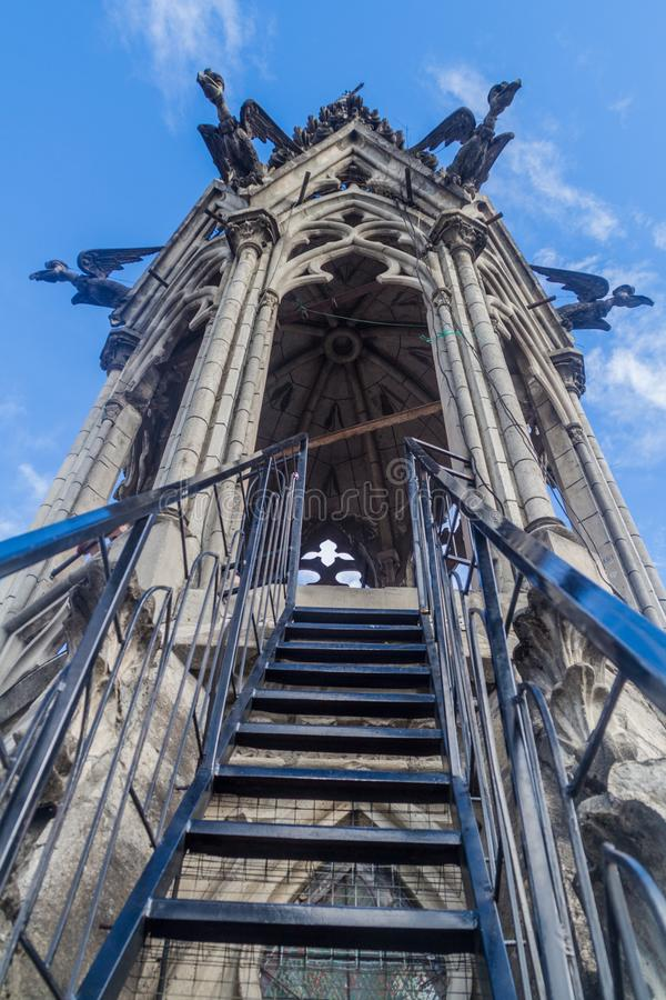 Tower of the Basilica of the National Vow in Quito. Ladder to the viewpoint on the tower of the Basilica of the National Vow in Quito, Ecuador royalty free stock images