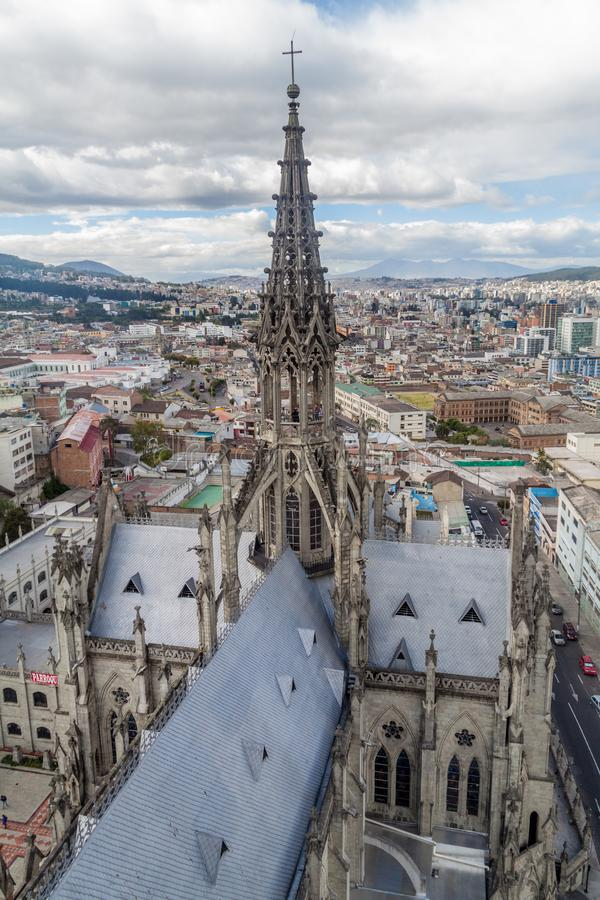 Tower of the Basilica of the National Vow in Quito. Ecuador royalty free stock photos