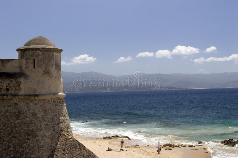 Download Tower and Beach stock photo. Image of resort, citadel, corsica - 194318