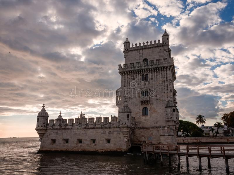 The tower of belem, portugal. Belem Tower Portuguese: Torre de Belem, pronounced,  is a UNESCO World Heritage Site located in Lisbon that played a key role in royalty free stock images