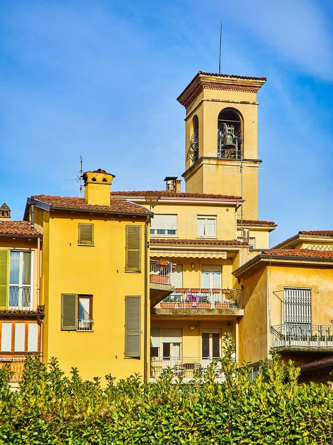 Tower Bell of The Church of San Rocco. Citta Bassa, Bergamo, Lombardy, Italy royalty free stock photos