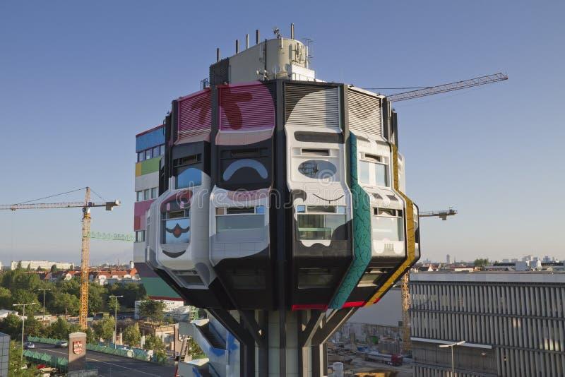 Tower bierpinsel tabloid. The tower bierpinsel, decorated with graffiti from international street art artists Flying Foertress,Sozyone,Honet,Craig,KR,Costello stock image