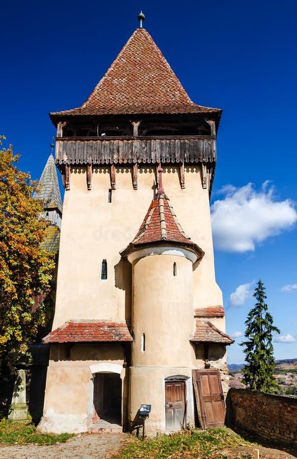 Tower of Biertan medieval church, Romania stock image