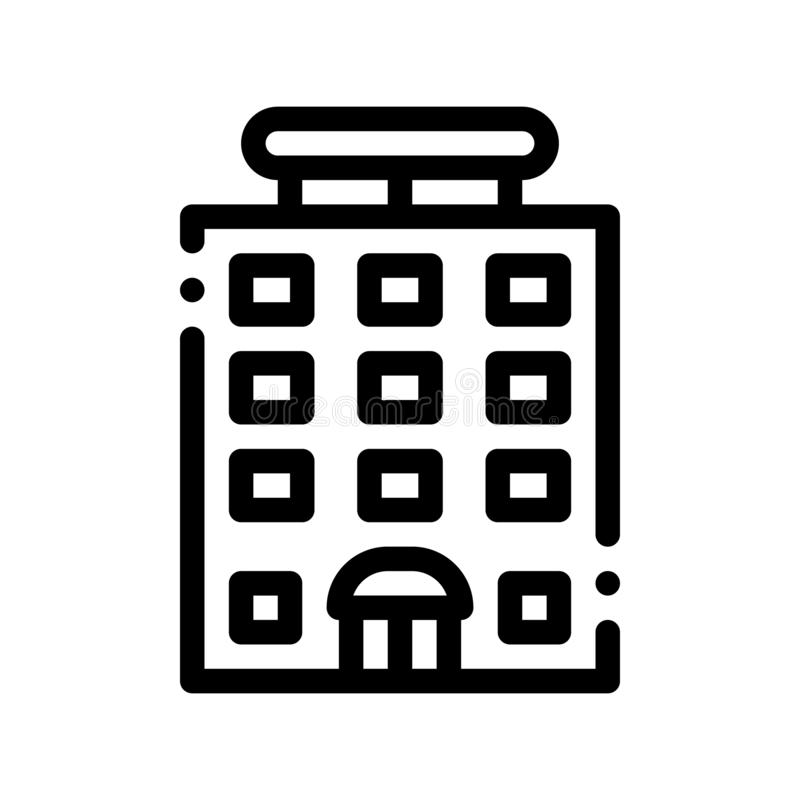 Tower-block Building Vector Sign Thin Line Icon vector illustration