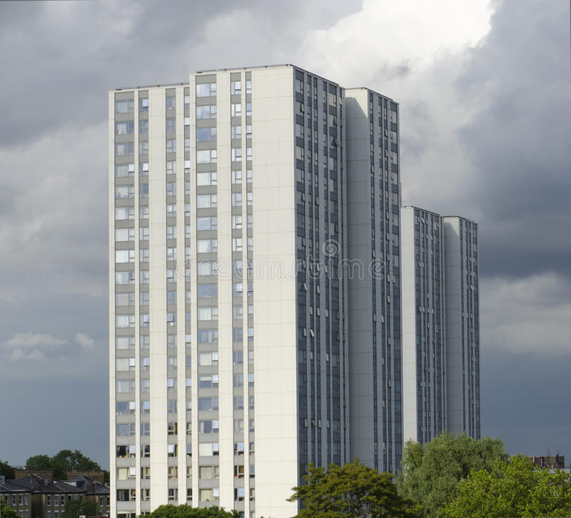 Ex local authority social housing high rise flats in north London, UK. royalty free stock photo