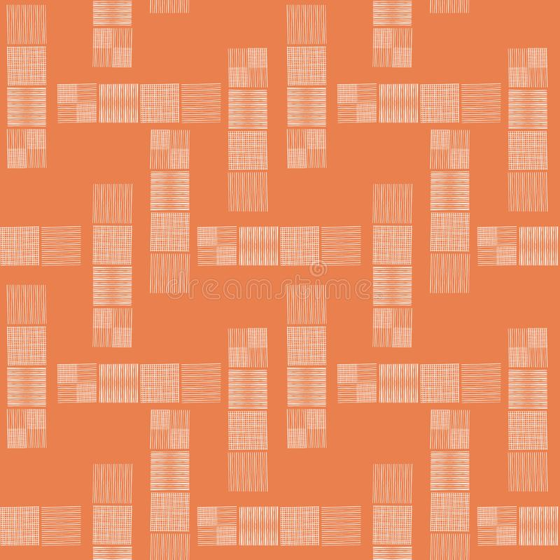 Tower blocks of hand drawn doodle squares in spacious abstract design. Seamless vector pattern on orange background royalty free illustration