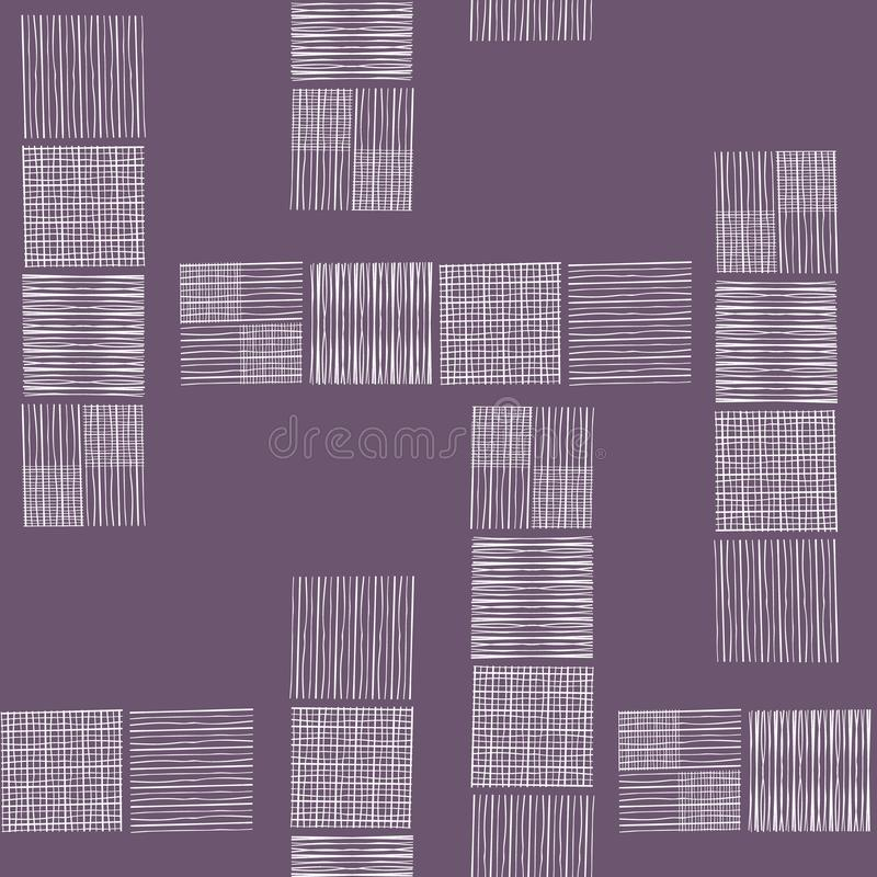 Tower blocks of hand drawn doodle squares in spacious abstract design. Seamless vector pattern on soft purple background royalty free illustration