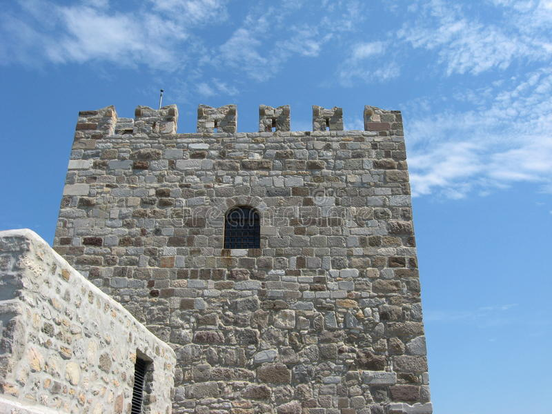 Tower of Bodrum Castle. In Aegean Turkey royalty free stock photos