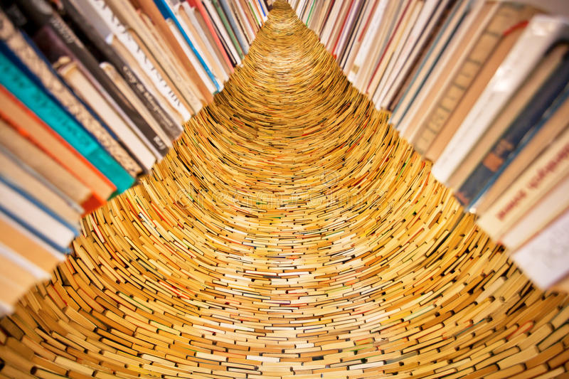 Tower of books in the Library stock photos
