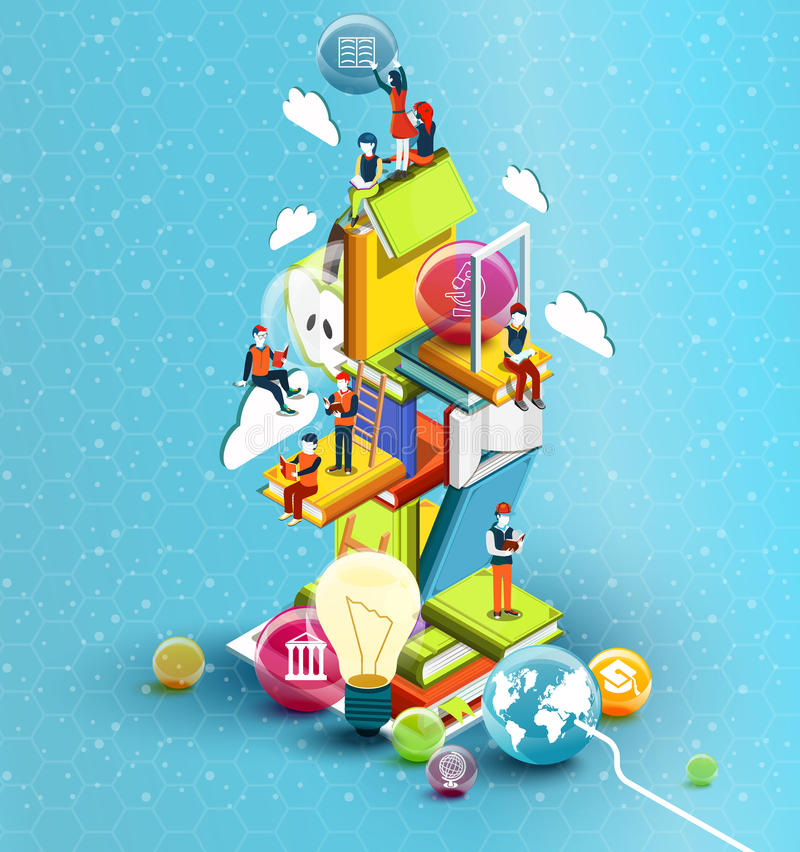 A tower of books with reading people. Educational concept. Online library. vector illustration