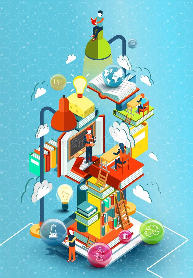 A tower of books with reading people. Educational concept. Online library. Online education isometric flat design vector illustration