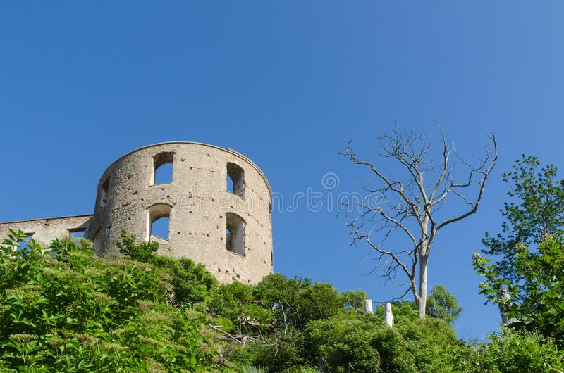 Tower of Borgholm castle ruin a landmark on the swedish island Oland. One tower of Borgholm castle ruin a famous landmark on the swedish island Oland stock images