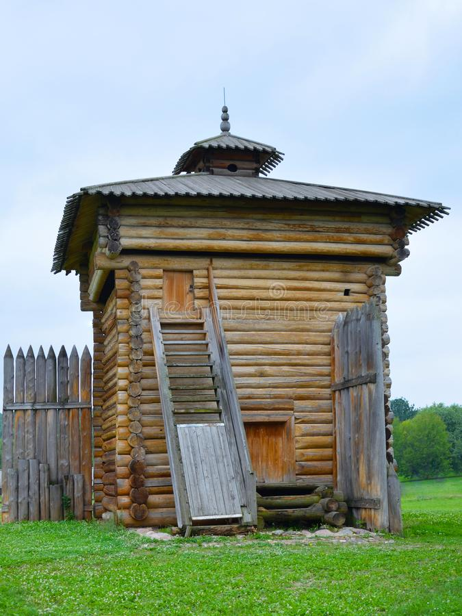 Tower of Bratsk stockaded fort listed building 1654. Moscow. Tower of Bratsk stockaded fort listed building 1654. A monument of ancient wooden architecture royalty free stock photography