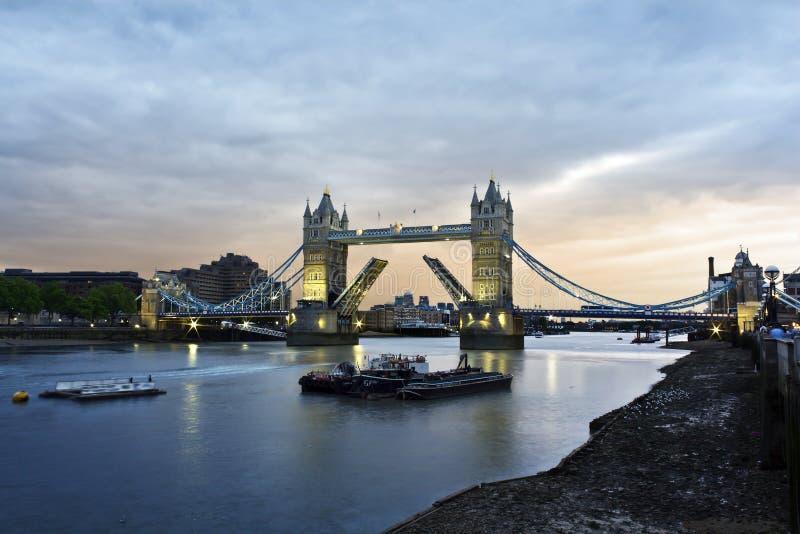 Tower Bridge. Opened Tower Bridge at sunset, London stock images