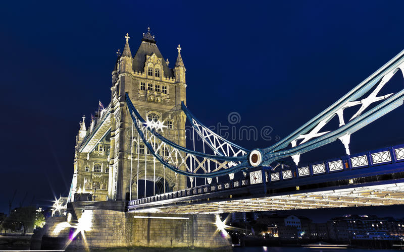 Tower Bridge. HDR picture of London's Tower Bridge at night royalty free stock photography