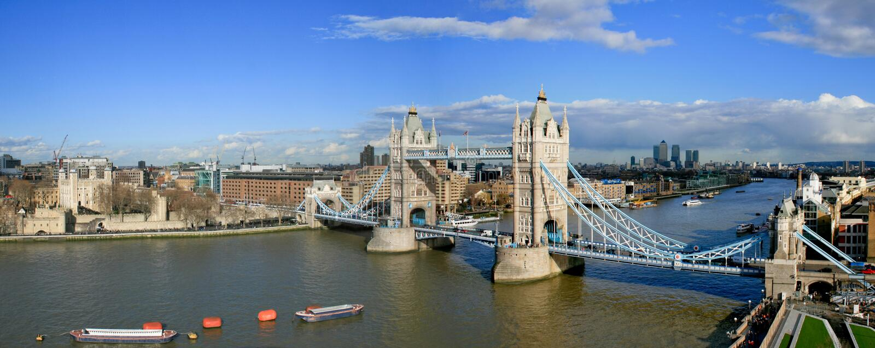 Tower Bridge. And Tower of London sunny panorama stock photo
