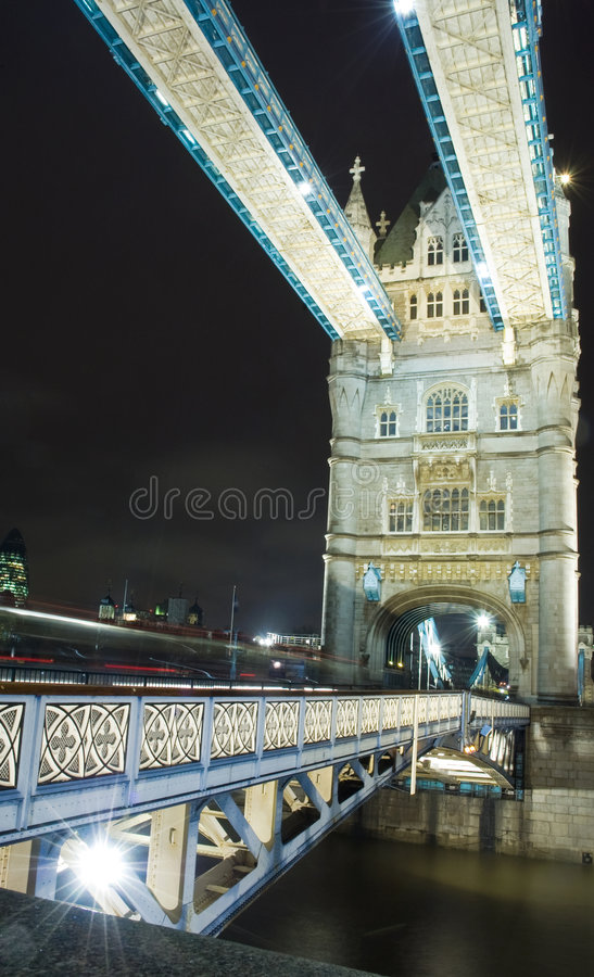 Tower Bridge. At night in lights stock photography