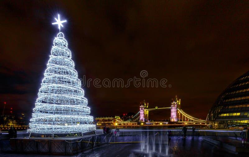 Tower Bridge and Christmas holiday lights, London, England stock photo