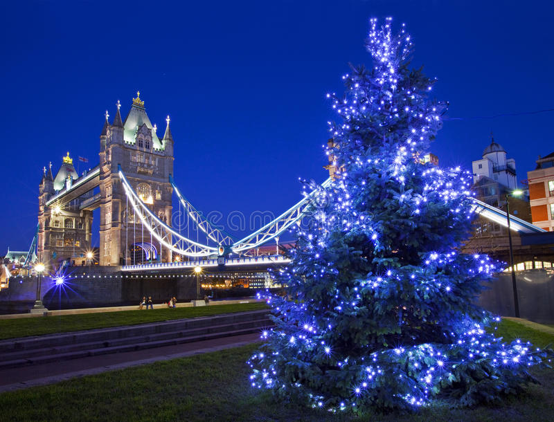 Tower Bridge and Christmas Tree in London stock image