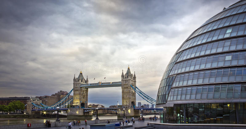 Tower Bridge and City Hall, London. Tower Bridge and City Hall in the evening, London, UK royalty free stock images