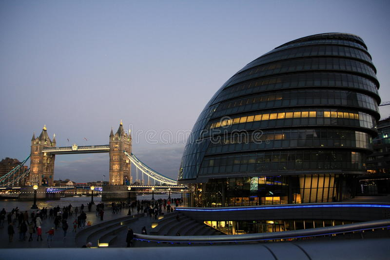 Tower Bridge with city halls stock images